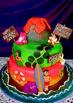 Luau and volcano cake by The Ladygloom, via Flickr