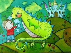 Petes Dragon / Boy and Dragon Art Print on Matt Paper - Signed and Dated - by PeaPodIllustrations