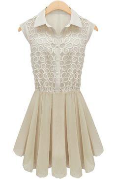 #SheInside White Sleeveless Embroidery Pleated Lace Dress