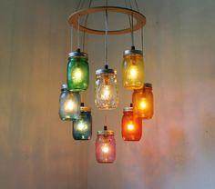 RAINBOW Heart Shaped Mason Jar Chandelier Light - Rustic Hanging Pendant Lighting Fixture - Direct Hardwire - BootsNGus Lamp Design. $215.00, via Etsy.