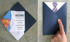 Twenty Wedding Invitation & Save the Date Ideas... some of the highlights include: star wars, superman, batman, wonder woman, Action comics, Captain America, Zombies Attack, scrabble, Game of Thrones, Doctor Who, Hitchhikers guide to the galaxy, Back to the future, Mac and Windows meet in Binary, Portal, Firefly, Paper dolls, and floppy disks.