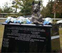 K9 Memorial  Unveiling - July 5,  2012  Location -  Emmett Park, Tahmoor, Australia  Sculpted by Peter Lewis