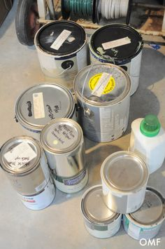 Organizing paint with inexpensive, ordinary containers from around your home.