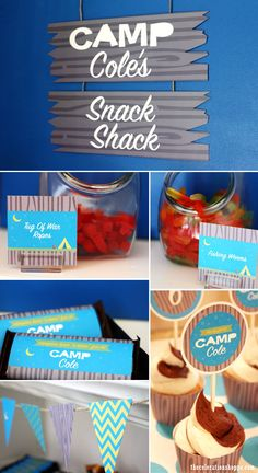 Camp party snack shack ~ easy dessert table idea