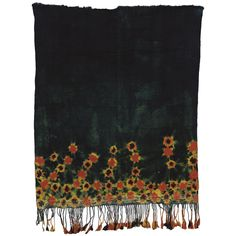 A WOVEN VEIL,TUNISIA with brilliant red and orange tie-dye flowers on an deep indigo ground, wool