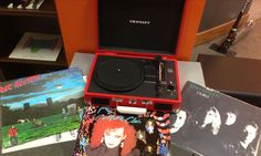 #CrosleyRadio's #Cruiser #Portable #Record #Player with #MrMister #CultureClub and #VanHalen's #OU812 #vinyl #records
