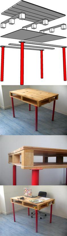 Mesa de escritorio con un palé / Pierre Vedel