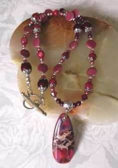 """Fuchsia Drop"" necklace & earrings"