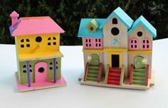 Painted birdhouses by @Destri Andorf | The Mother Huddle #craftysummer