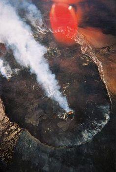 Helicopter view of the Kileuia volcano view near Hilo, Hawaii.