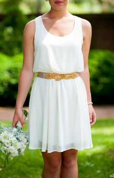 Grecian inspired white and gold bridesmaid dress #cocktail #gold #dress #florals   Photo by: Rebekah Hoyt Photography on Bayside Bride