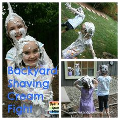 Pink and Green Mama--Give kids a can of shaving cream for fun outside before bath time.