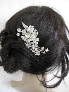 Bridal hair comb rhinestone,wedding comb,crystal bridal comb,wedding hair comb crystal,bridal hair accessories,bridesmaid headpieces,wedding. $39.00, via Etsy.