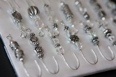 Antique Silver and Crystal Beaded Christmas Ornament Hook Hangers - Silver Wire - FREE SHIPPING.  via Etsy.
