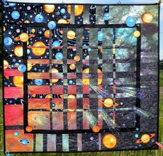 Space inspired quilts on pinterest 30 pins for Galaxy quilt fabric