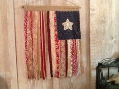 American flag Wall hanging, Primitive, Folk Art, cloth, tattered, burlap and cotton strips
