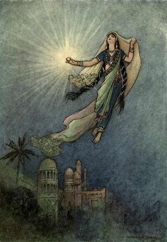 She took up the jewel in her hand, left the palace, and successfully reached the upper world.  A Warwick Goble illustration for Folk-Tales of Bengal.