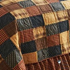 Country Quilts | American Country Patchwork King Quilt Bed Bedding Set Love the cozyness of this quilt, add a few blocks of pinks and brighten it a bit with lighter whites/tans, it'd be perfect