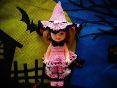 "Handmade Crochet Doll Clothes Fit 4' Kelly Doll""Hocus Pocus Pink"" | eBay sharmar2011 10/2013"