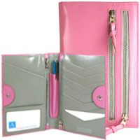 Pink Cadillac glossy Italian-style Italian leather. Tour One Wallet by Alicia Klein. wallet