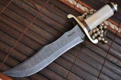 Custom made Damascus Bowie knife Mammoth bone handle