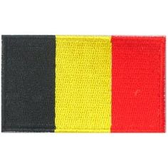 Belgium, Brussels, Flag, Country, Patch, Embroidered Patch, Merit Badge, Iron On, Iron-On, Crest, Girl Scouts