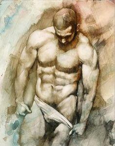 Nude 49 Fine Art Print - Chris Lopez watercolor paintings, art paintings, nude art, nude 49, art prints, fine art, chris lopez, gay art, male nude