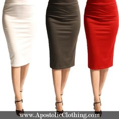 Solid Modest Pencil Skirts