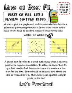 is scatter plot activity that has notes on line of best fit/trend line ...