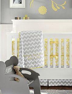 yellow + gray | modern nursery | pottery barn kids