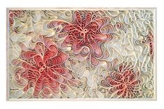 """Canvas on Edge - Cherry Blossom : """"We sketch our ideas and plans. We admire the skill and attention to detail that goes into quilling. Our creations happen on an amplified scale. We work with the canvas to create the curvilinear forms that hold pockets of light and shadow and use paint to add color."""" Say the artists"""