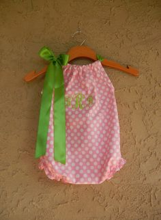 If anyone needs a baby shower gift idea ;)   Monogrammed Pink Dot Pillowcase Bubble Romper  by theuptownbaby, $32.00