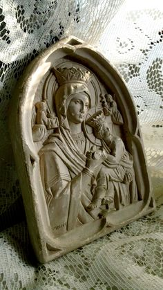"Antique ""Our Lady of Perpetual Help"" Plaster Relief Icon. $115.00, via Etsy."
