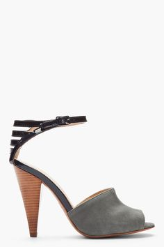 See By Chloe Grey Suede And Patent Leather Caged Sandals