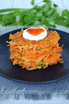 Thai Sweet Potato Latkes - Serve with a dollop of sour cream and sweet chili sauce!  SO good!