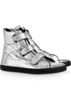 Karl|Metallic leather high-top sneakers|NET-A-PORTER.COM - StyleSays