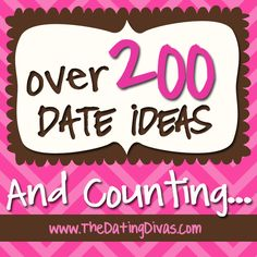 200+ date ideas for married couples... and new ideas added all the time!  PLUS romantic gift ideas and tips for anniversaries and every day.  www.TheDatingDivas.com #dateideas #romance #marriage