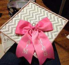 cheer bows, decorating graduation cap, big bows, graduation cap decoration, sorority graduation cap, decorated graduation cap