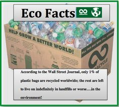 According to the Wall Street Journal, only 1% of plastic bags are recycled worldwide; the rest are left to live on indefinitely in landfills or worse... in the environment. #EcoFacts