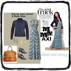 """""""MAXimize your comfort level"""" #cabi batik maxi $118 and norma jean jacket $108 are so everyday comfy, classy and on trend! www.debragrauss.cabionline.com"""
