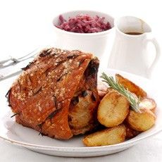 Roast Loin of Pork with Herbs and Spiced Apricots - recipe cost £13.72 (£1.72 each) - Roasts - Recipes - from Delia Online