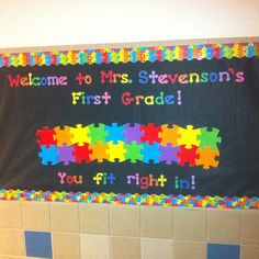 My back to school bulletin board! Going to write their names on the puzzle pieces!