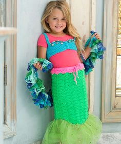 Petite Mermaid Costume Free Crochet Pattern from Red Heart Yarns #Halloween