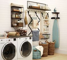 To get this Fresh + Clean look, use YOLO Colorhouse AIR .02 ironing boards, potteri barn, dream, laundry rooms, laundry room organization, laundri room, storage ideas, pottery barn, utility rooms