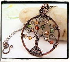 Autumn Crystal Tree of Life Pendant With Chain, Cute