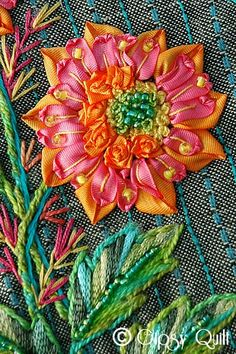 Ribbon flower at Gypsy Quilts