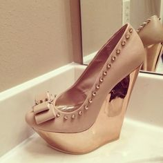 love these! spike, nude shoes, woman fashion, wedge shoes, bomb, heel, stud, bathroom sinks, bow