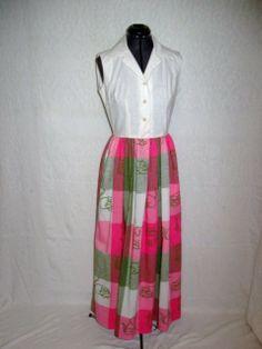Vintage 60s Vested Gentress Pink Green Plaid Novelty Cat Dog Shirt Dress s M | eBay