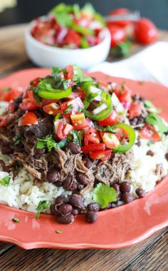 Crockpot Cuban Pork with Beans and Fresh Tomato Salsa Recipe