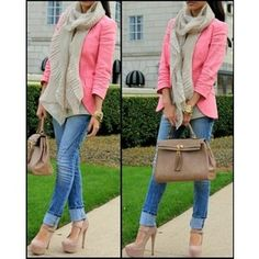 blue faded skinny jeans, pink blazer, beige scarf and mary jane heels